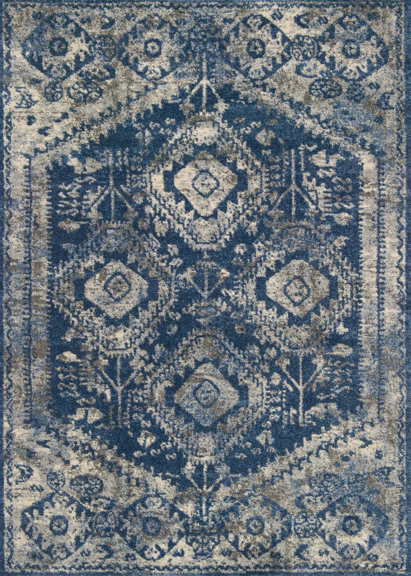 EMORY Collection Rug  in  BLUE / PEBBLE Blue Runner Power-Loomed Polypropylene