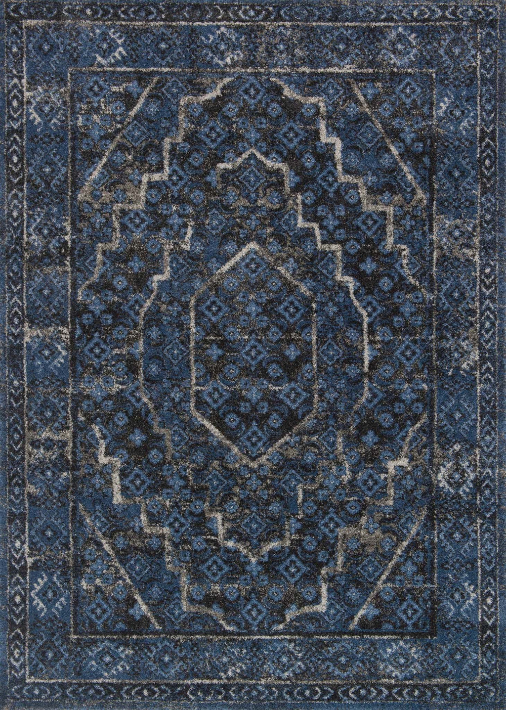 EMORY Collection Rug  in  DENIM / GREY Blue Runner Power-Loomed Polypropylene