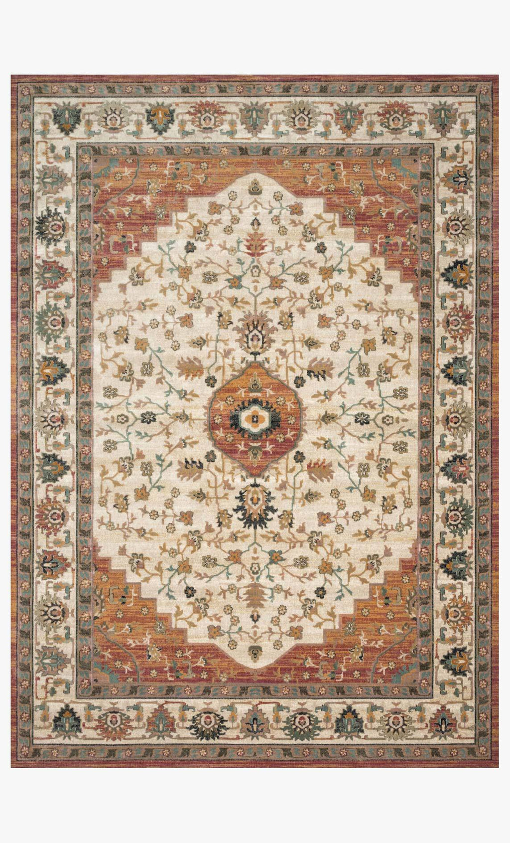 Evie Collection Rug in IVORY / TERRACOTTA