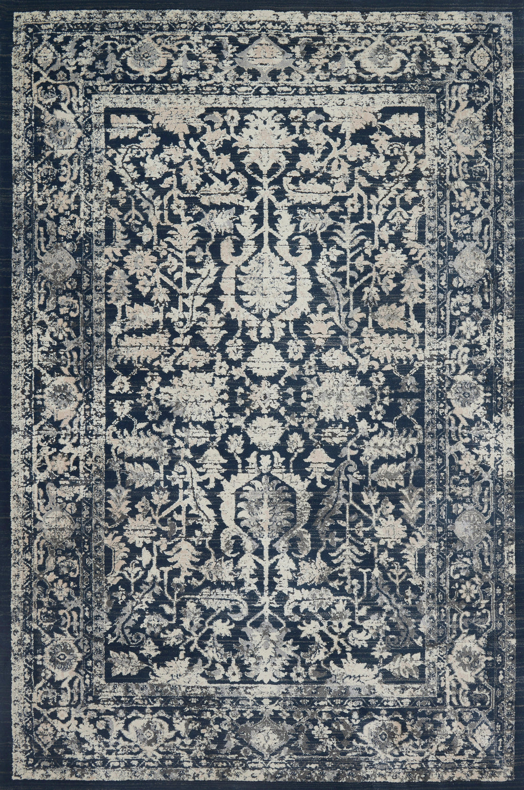 EVERLY Collection Wool/Viscose Rug in INDIGO / INDIGO Blue Accent Power-Loomed Wool/Viscose