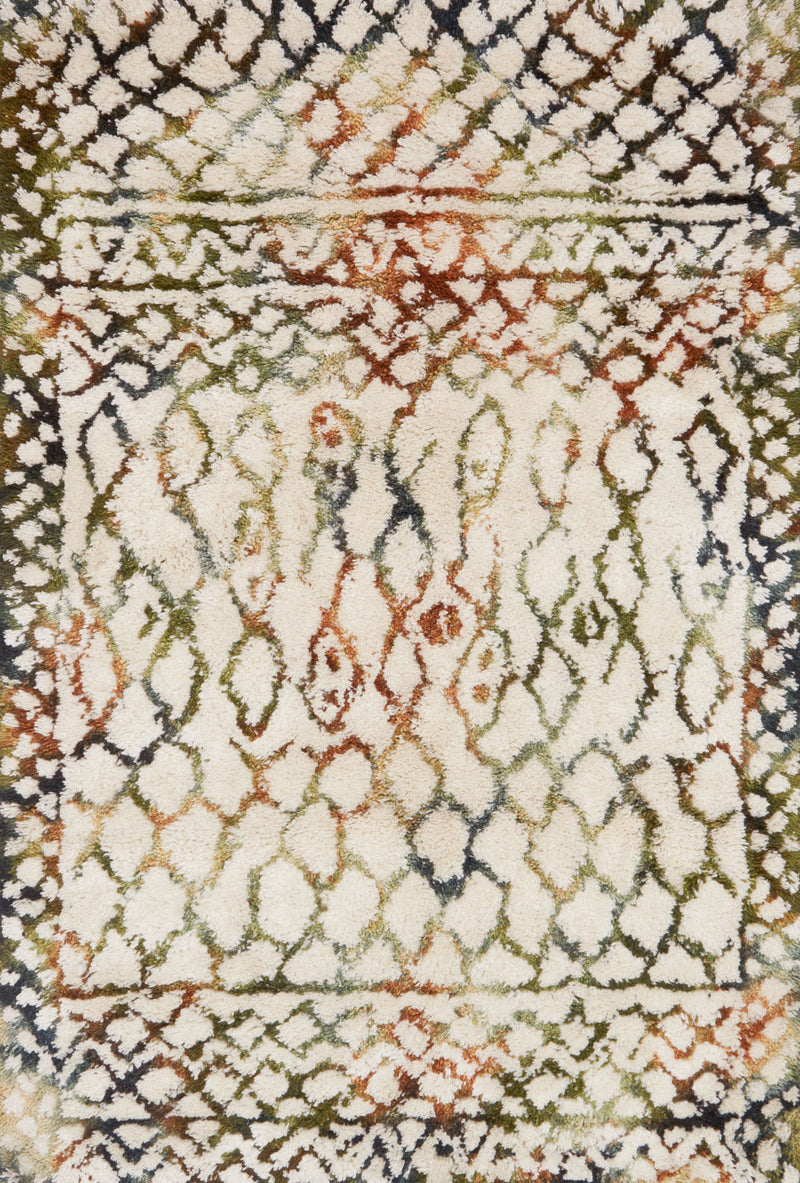 FOLKLORE Collection Rug  in  IVORY / JADE Ivory Small Hand-Woven Polyester/Wool