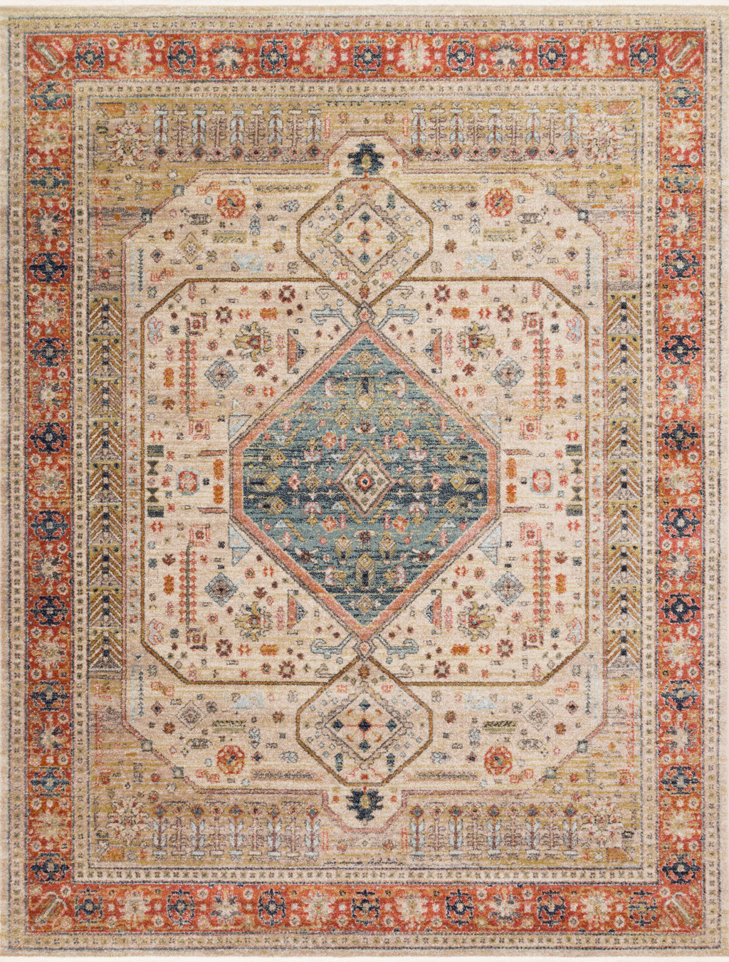 GRAHAM Collection Rug  in  PERSIMMON / ANT.IVORY Orange Accent Power-Loomed Polypropylene