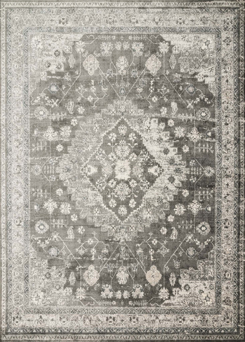 GRIFFIN Collection Rug  in  CHARCOAL Gray Runner Power-Loomed Viscose