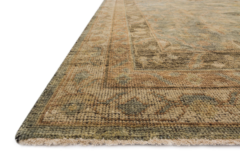 HEIRLOOM Collection Rug  in  AQUA / TERRACOTTA Blue Accent Hand-Knotted Viscose