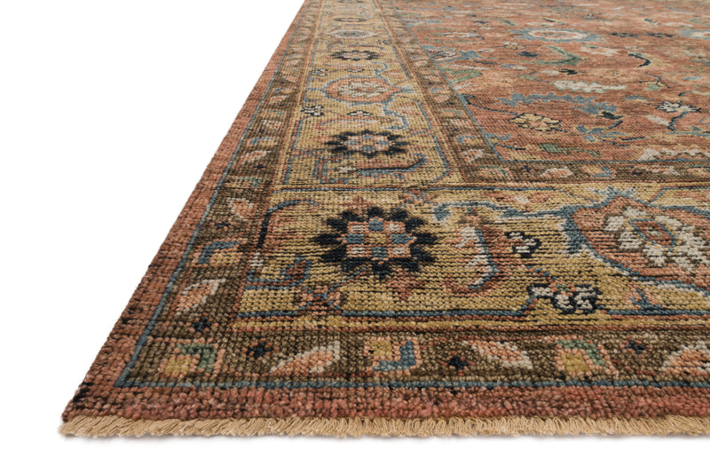 HEIRLOOM Collection Rug  in  BRICK / SAND Red Accent Hand-Knotted Viscose