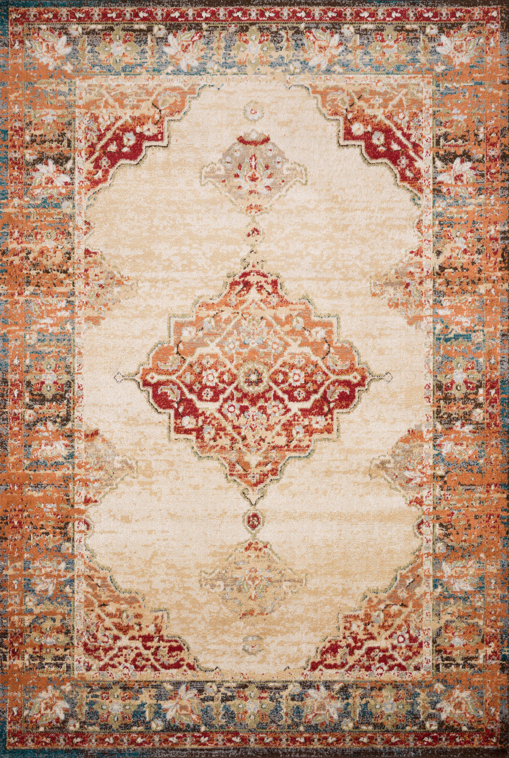 ISADORA Collection Rug  in  ANT. IVORY / SUNSET Beige Accent Power-Loomed Polypropylene