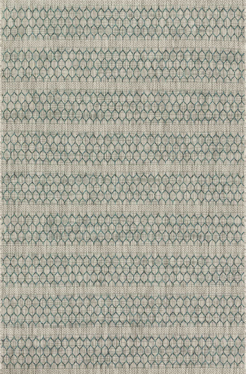 ISLE Collection Rug  in  GREY / TEAL Gray Small Power-Loomed Polypropylene
