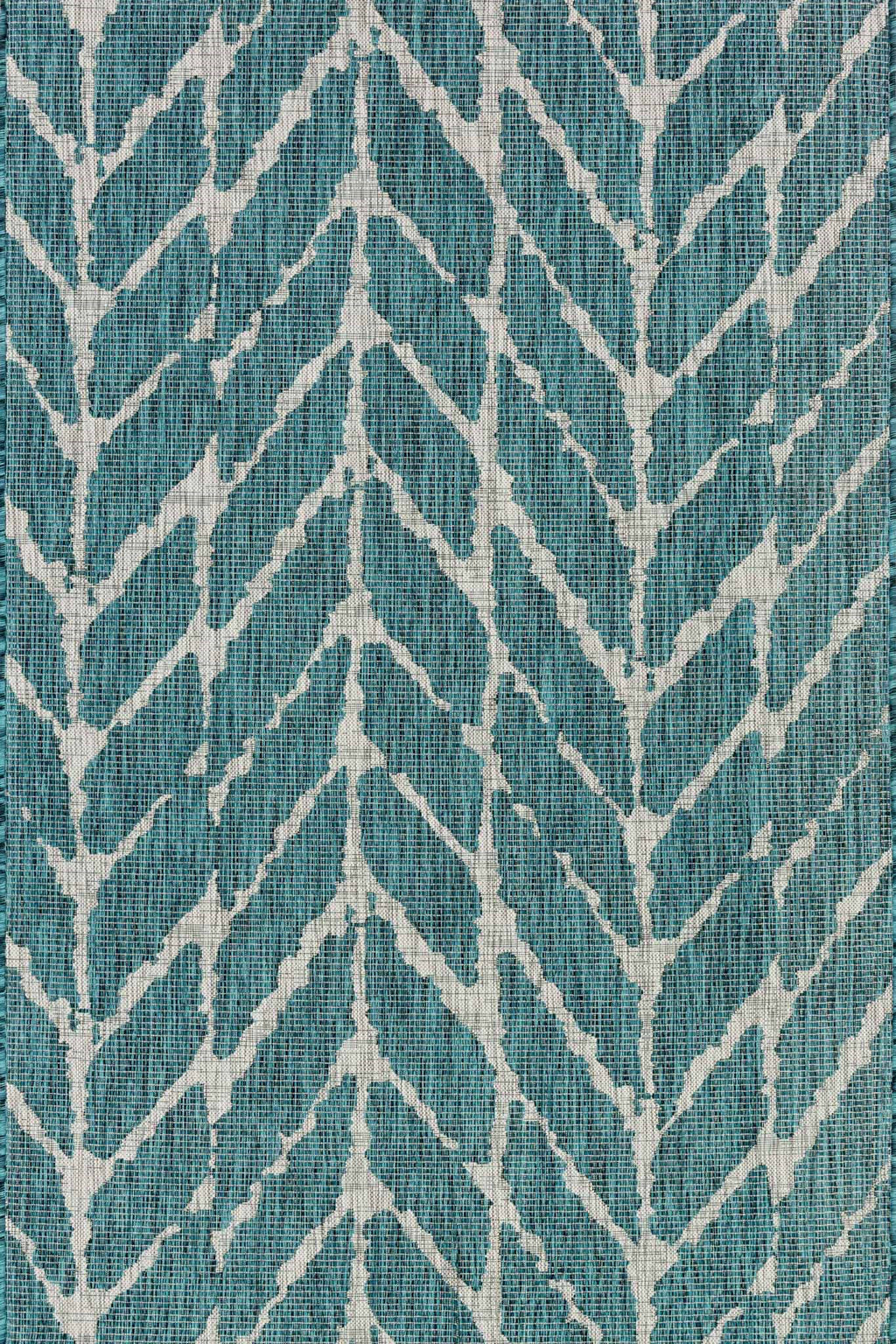 ISLE Collection Rug  in  TEAL / GREY Blue Small Power-Loomed Polypropylene