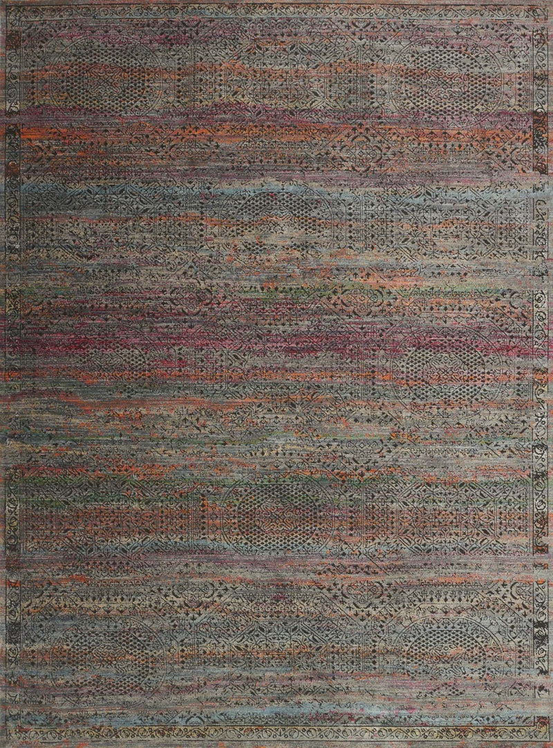 JAVARI Collection Rug  in  CHARCOAL / SUNSET Gray Runner Power-Loomed Polypropylene/Polyester