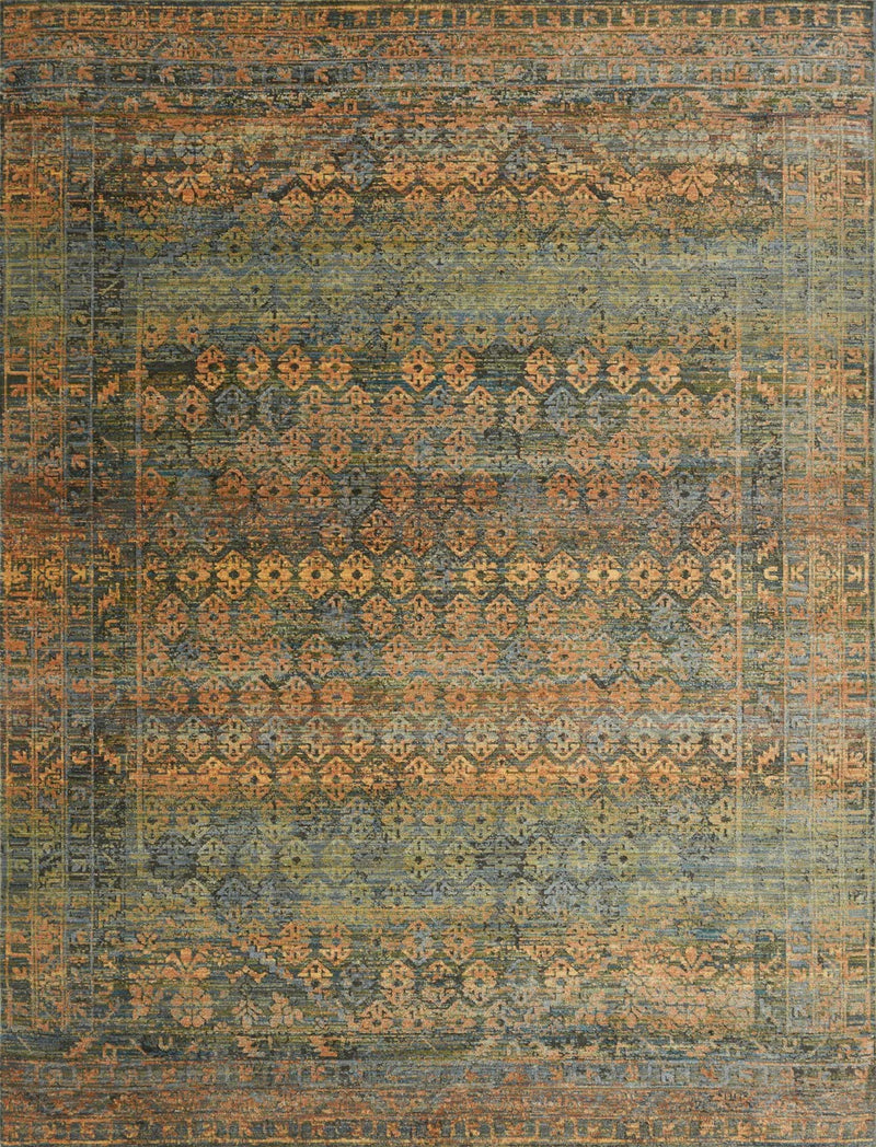 JAVARI Collection Rug  in  LAGOON / FIESTA Blue Runner Power-Loomed Polypropylene/Polyester