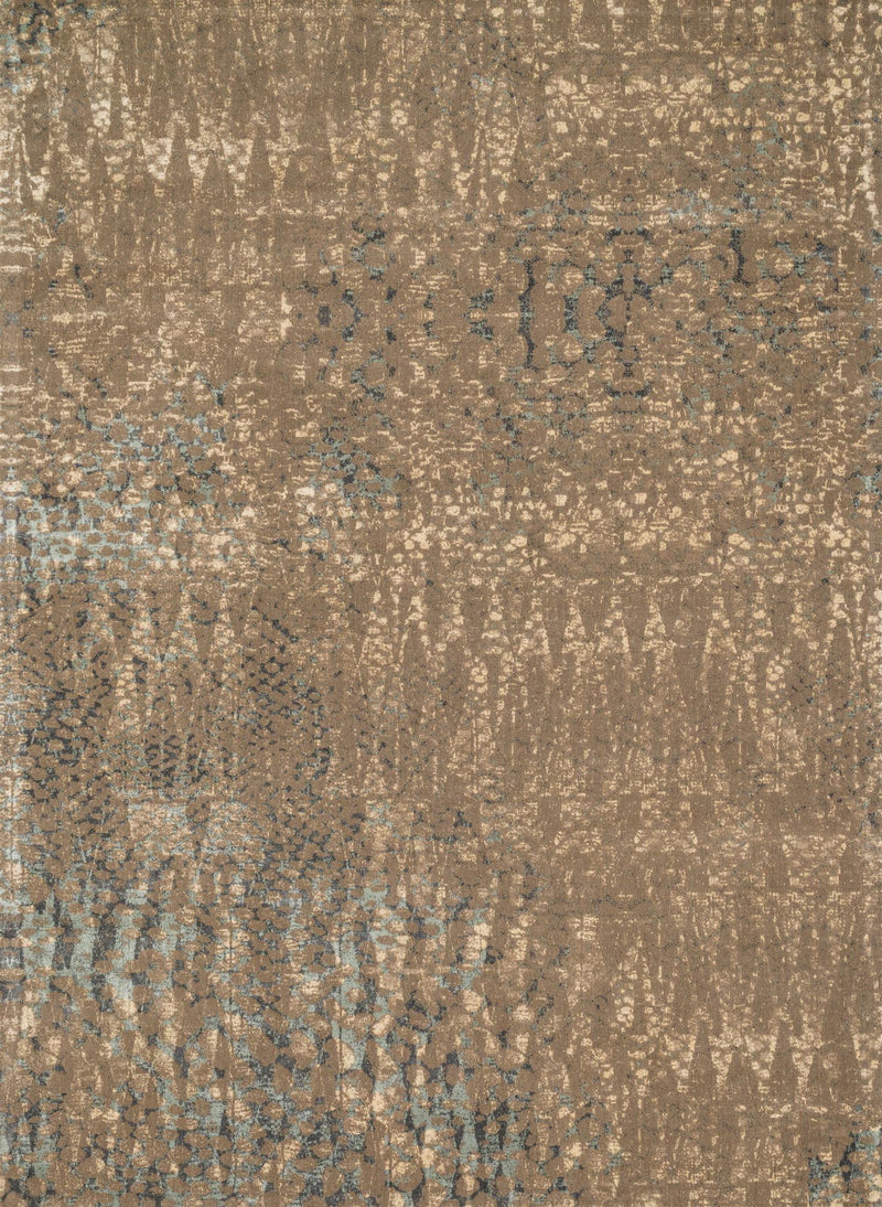 JOURNEY Collection Wool/Viscose Rug  in  STONE / BLUE Gray Runner Machine-Made Wool/Viscose