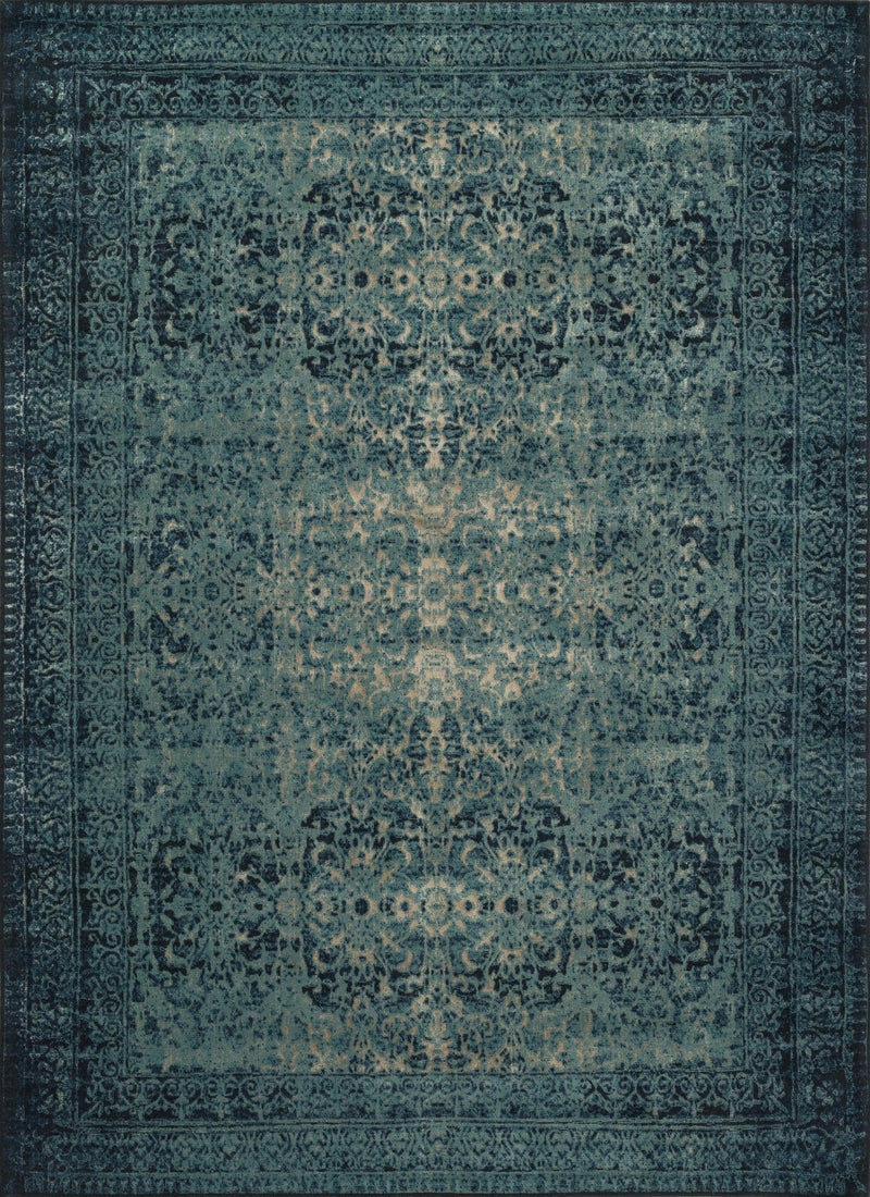JOURNEY Collection Wool/Viscose Rug  in  INDIGO / BLUE Blue Runner Machine-Made Wool/Viscose