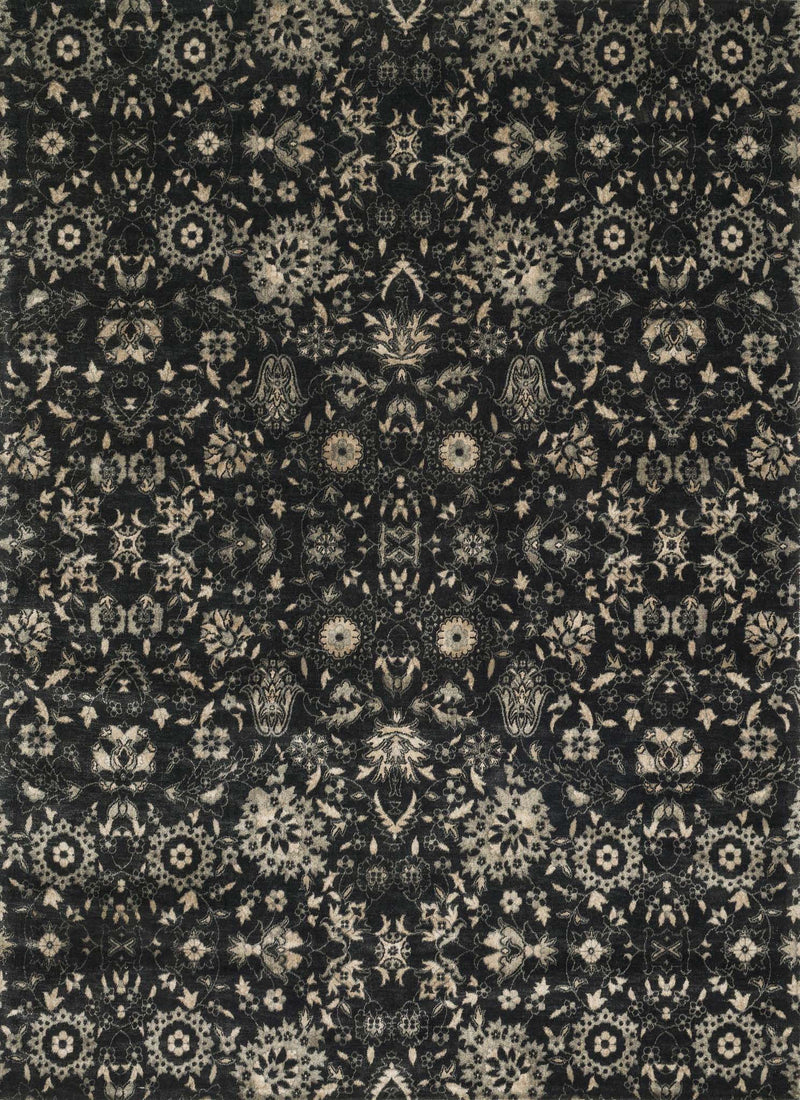 JOURNEY Collection Wool/Viscose Rug  in  BLACK / SILVER Black Runner Machine-Made Wool/Viscose