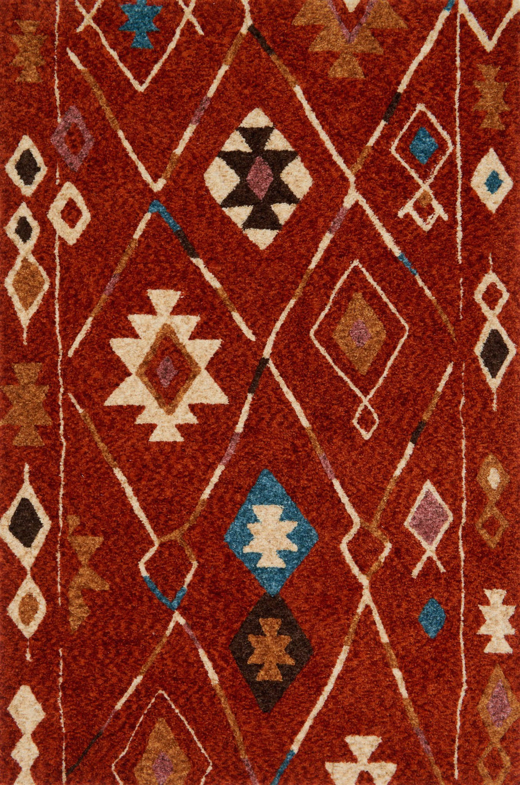 KALLIOPE Collection Rug  in  SPICE / BLUE Red Small Hand-Woven Polyester