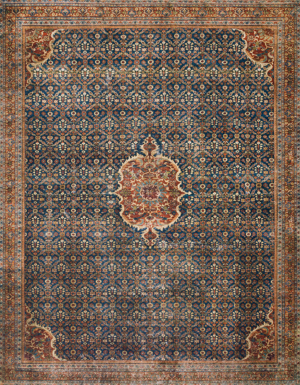 LAYLA Collection Rug  in  COBALT BLUE / SPICE Blue Accent Power-Loomed Polyester