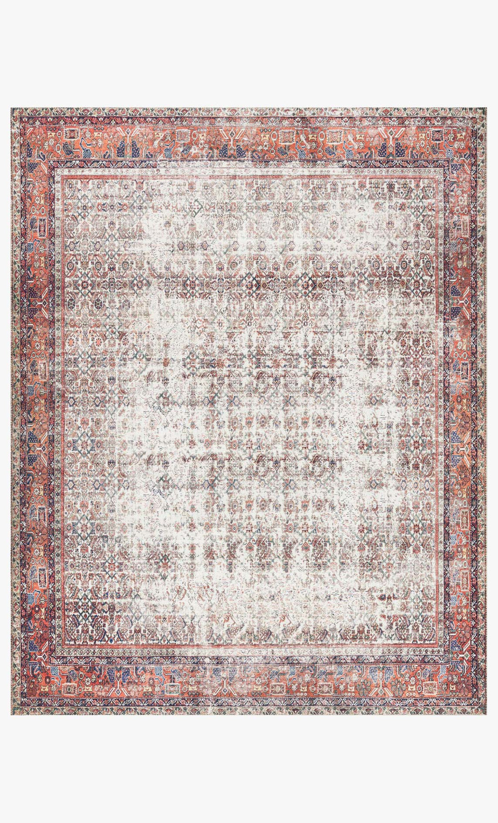 LAYLA Collection Rug  in  Ivory / Brick Ivory Accent Power-Loomed Polyester