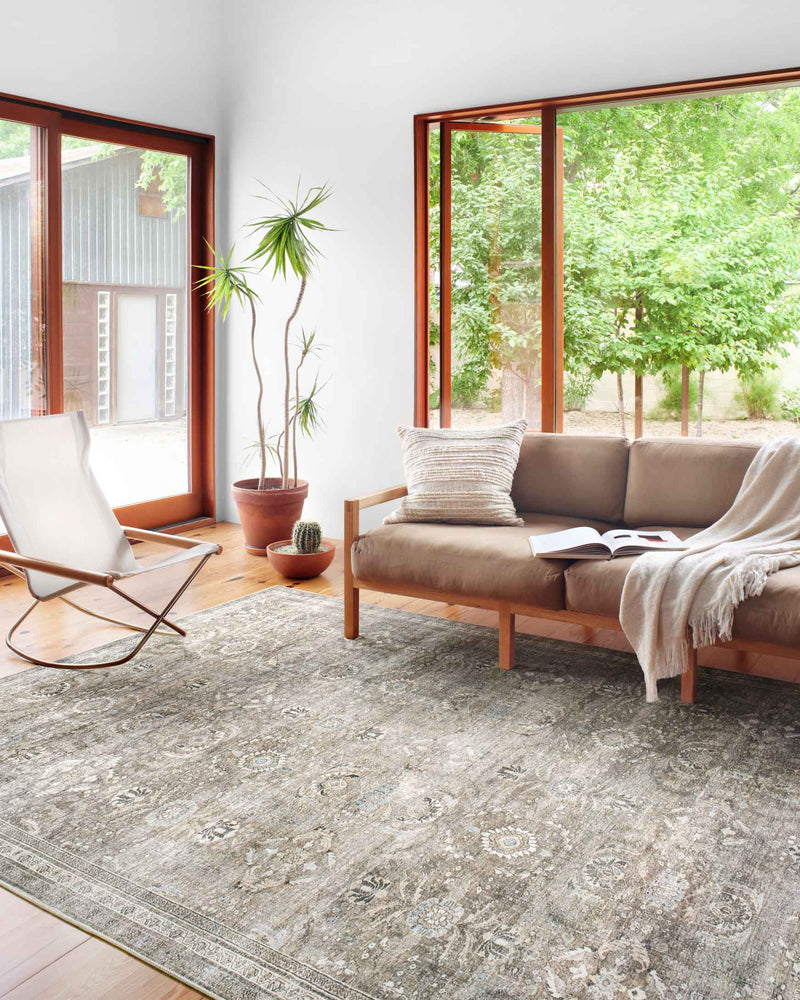 LAYLA Collection Rug  in  Antique / Moss Beige Accent Power-Loomed Polyester