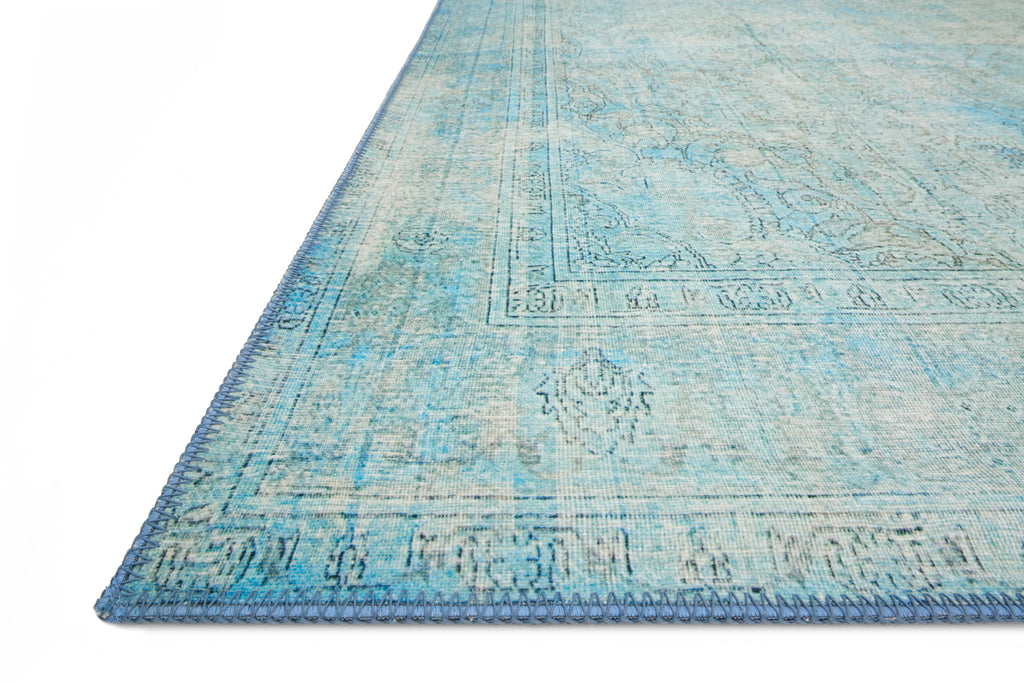 LOREN Collection Rug  in  AQUA Blue Accent Power-Loomed Polyester