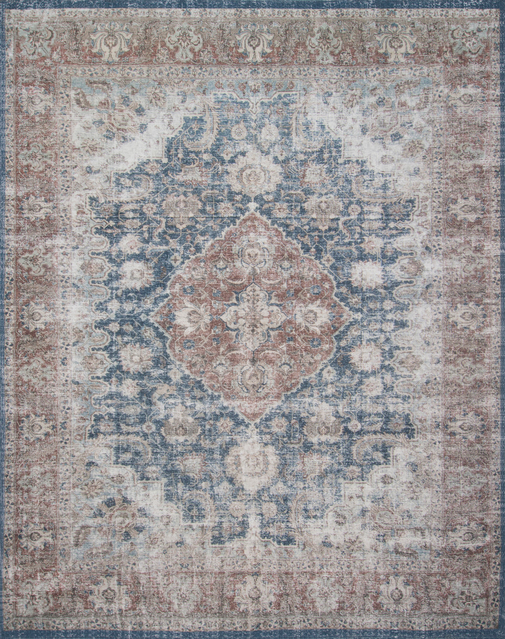 LUCCA Collection Wool/Viscose Rug  in  DENIM / TERRACOTTA Blue Accent Power-Loomed Wool/Viscose