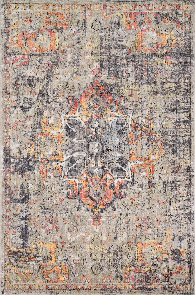 LAYLA Collection Rug in BLUE / TANGERINE