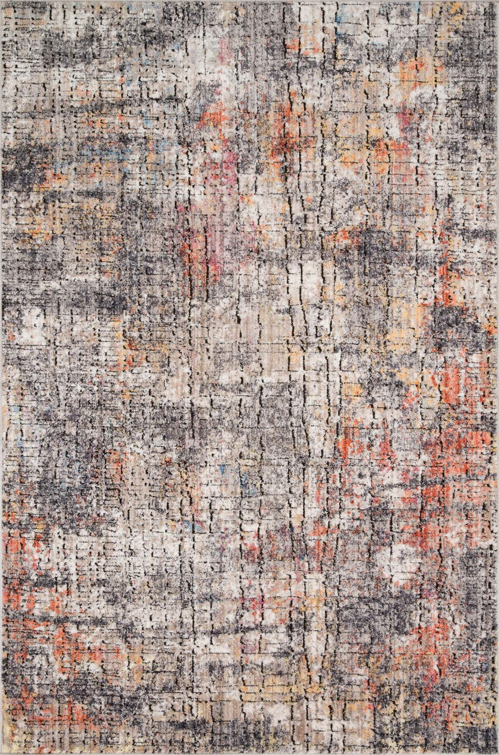 MEDUSA Collection Rug  in  GRAPHITE / SUNSET Gray Runner Power-Loomed Polyester