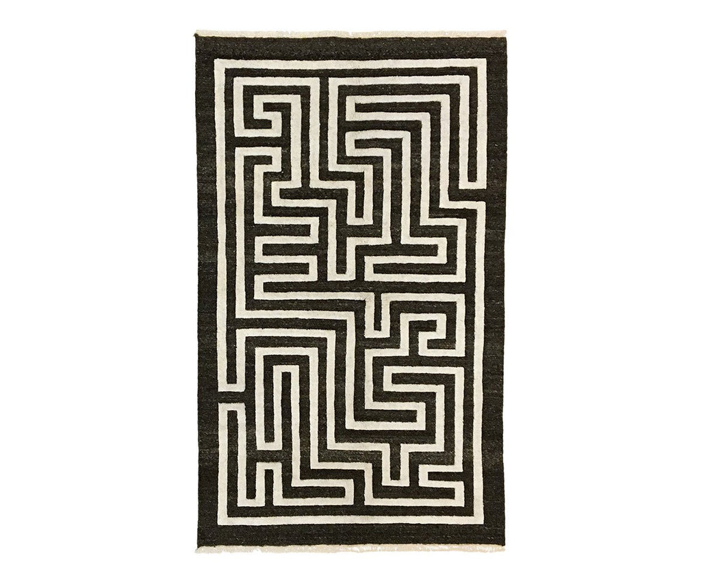 Maze Handwoven Rug in Dark Wool
