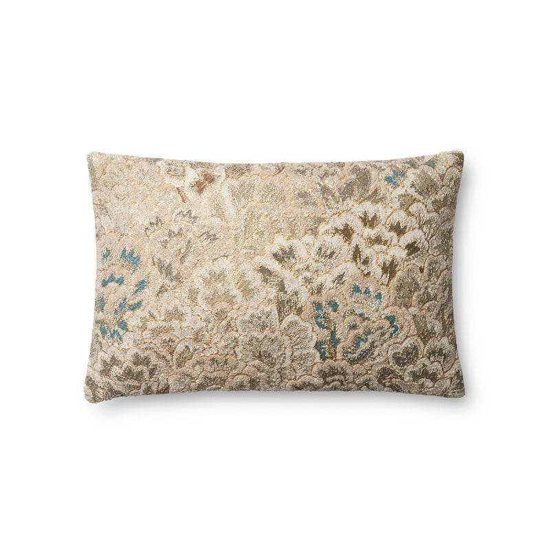 "Cotton 22"" x 22"" pillow in BLUE IVORY"