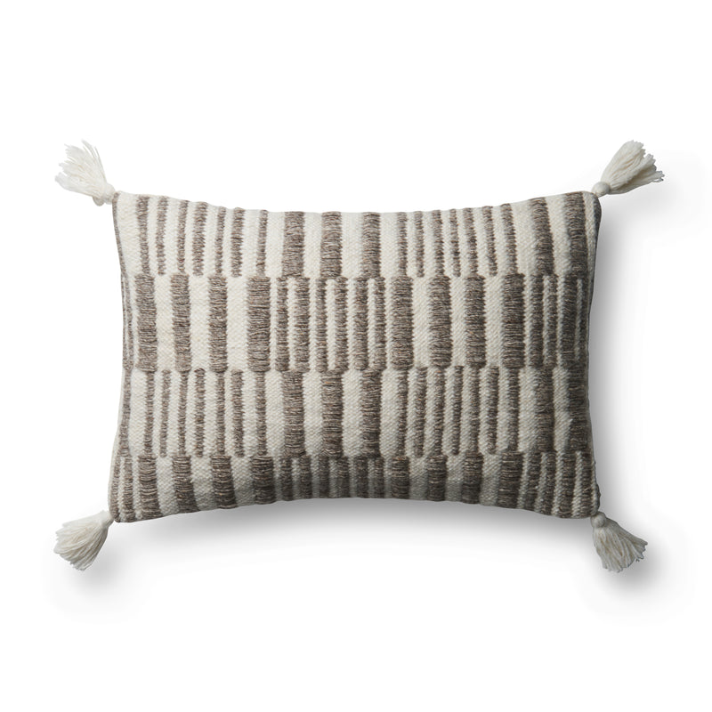 "Wool | Polyester | Cotton 13"" x 21"" & 22"" x 22"" Pillow in IVORY / GREY"