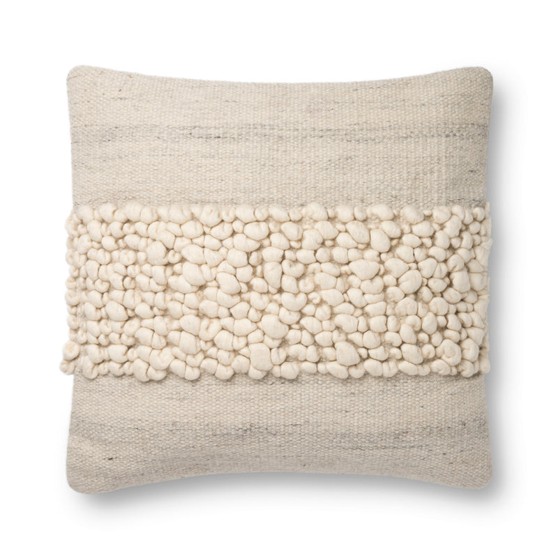 "Cotton | Wool 22"" x 22"" Pillow in BLUE / IVORY"