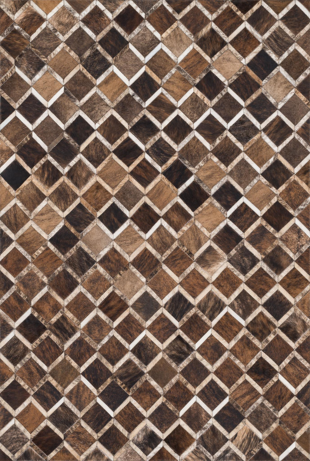 PROMENADE Collection Rug  in  BROWN Brown Small Hand-Woven Cowhide
