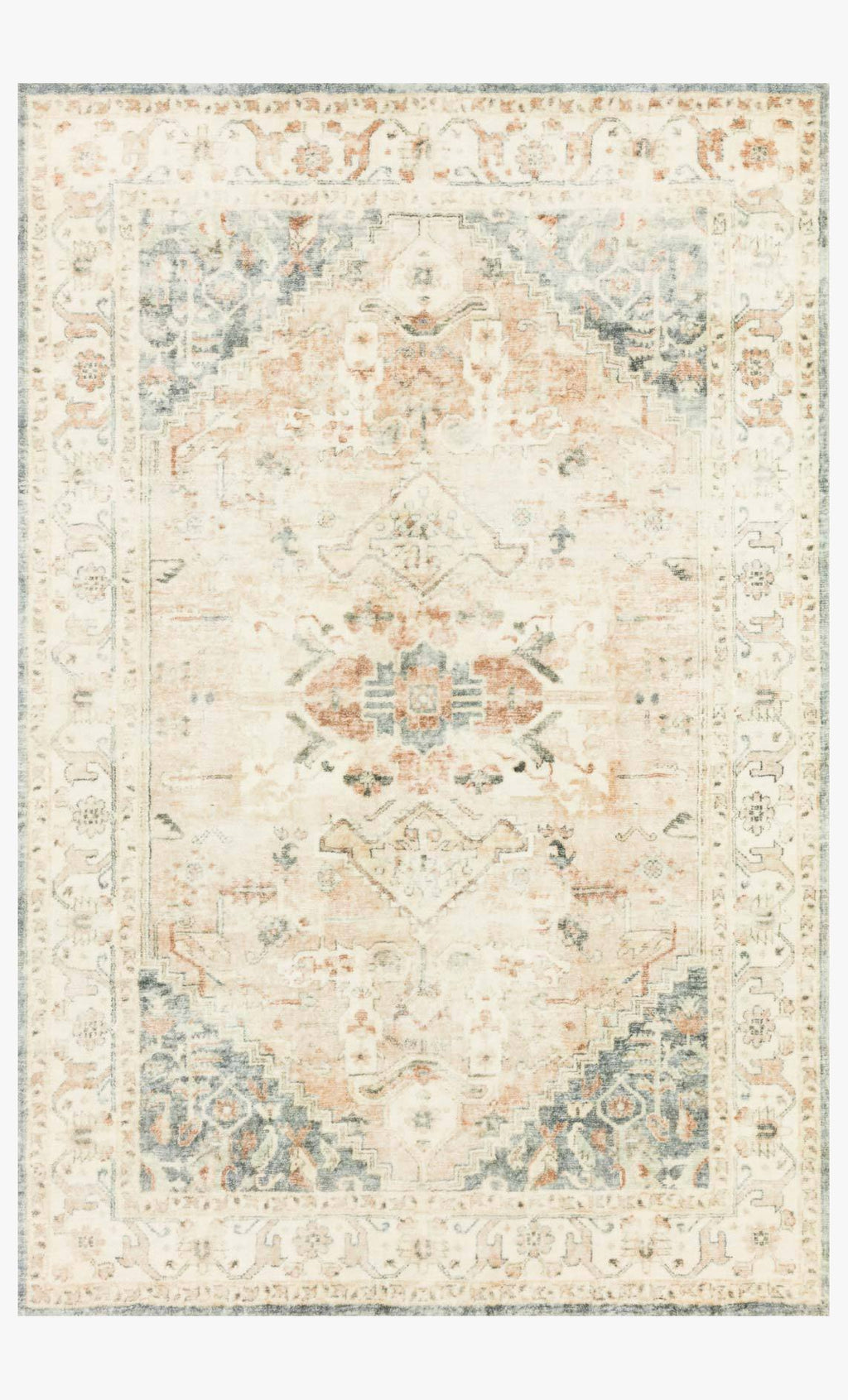Rosette Collection Rug in Clay / Ivory
