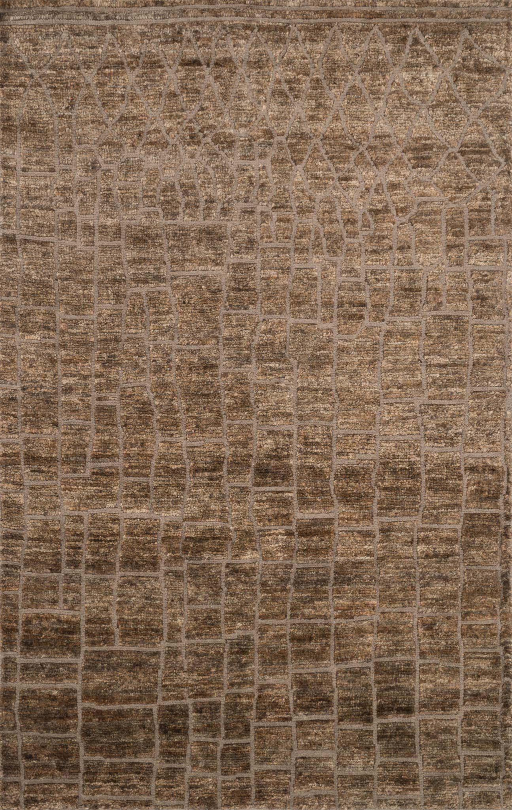 SAHARA Collection Rug  in  TAN Beige Medium Hand-Knotted Jute/Wool