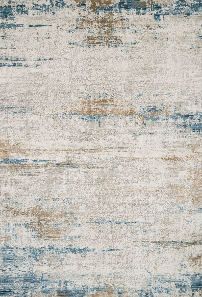 SIENNE Collection Rug  in  IVORY / AZURE Ivory Runner Power-Loomed Viscose/Acrylic