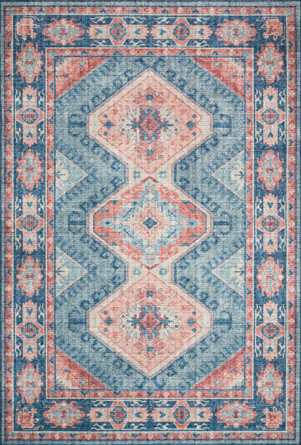 SKYE Collection Rug  in  TURQUOISE / TERRACOTTA Blue Accent Power-Loomed Polyester
