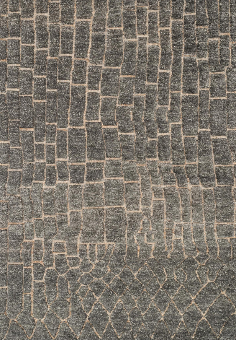 TANZANIA/HEMINGWAY Collection Rug  in  SLATE Gray Small Hand-Knotted Jute/Wool