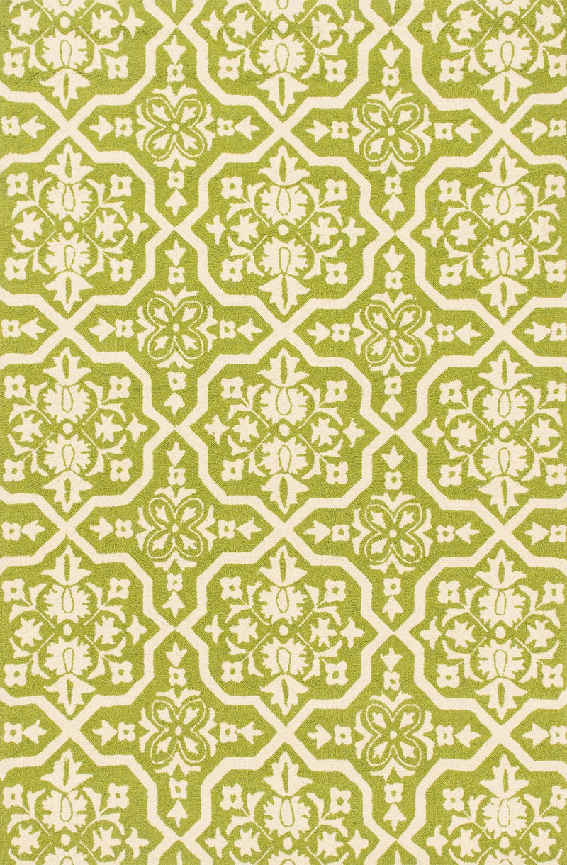 VENICE BEACH Collection Rug  in  PERIDOT / IVORY Green Small Hand-Hooked Polypropylene