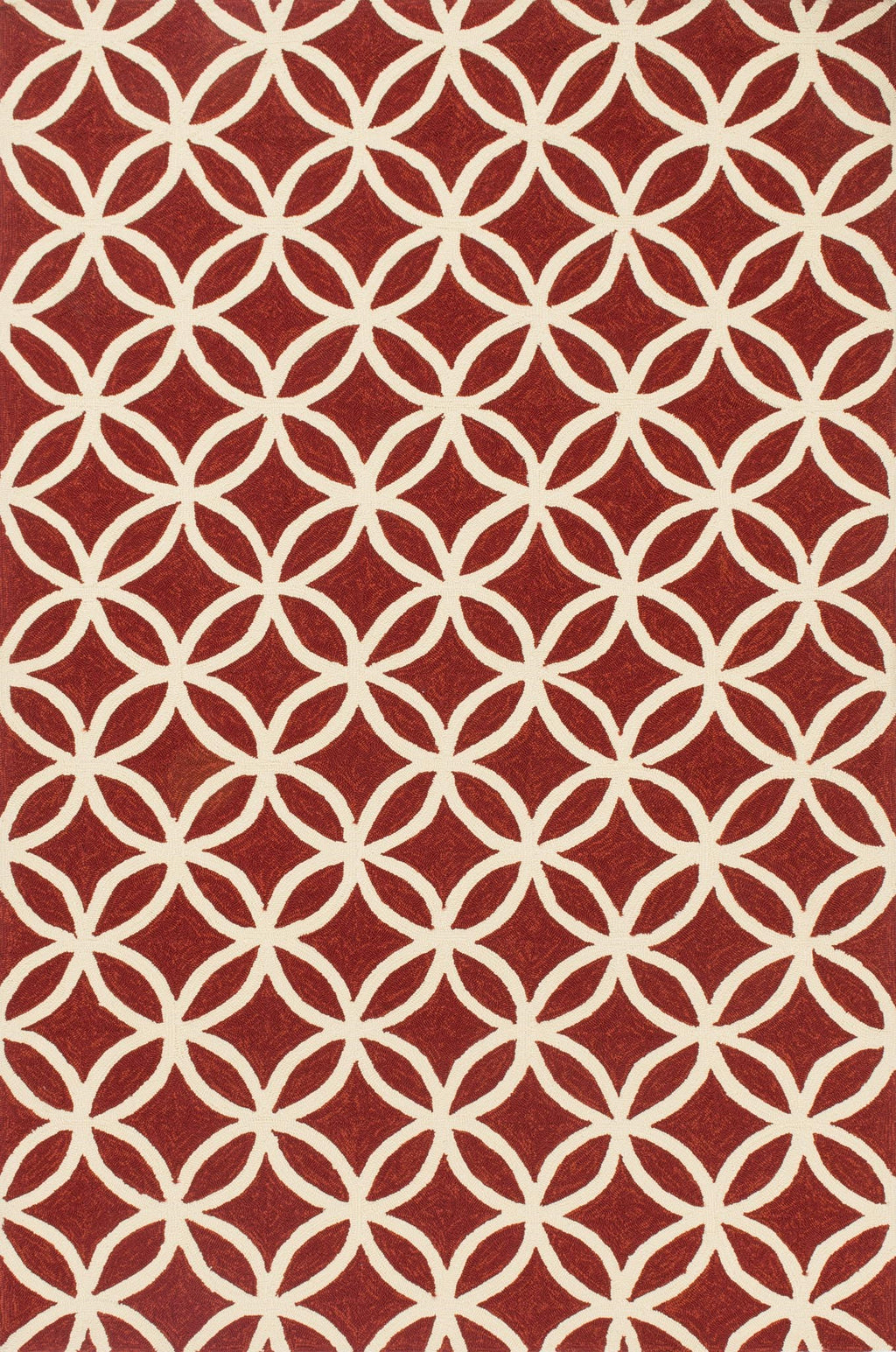 VENICE BEACH Collection Rug  in  RED / IVORY Red Small Hand-Hooked Polypropylene