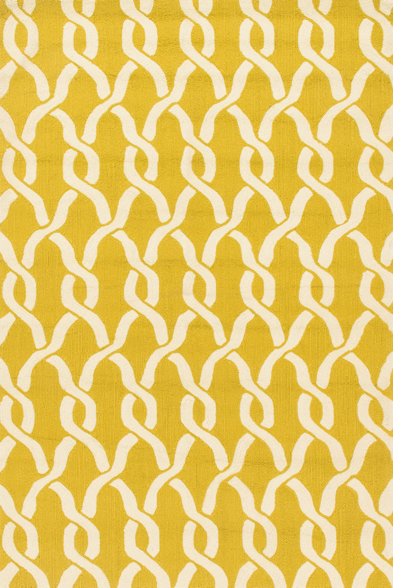 VENICE BEACH Collection Rug  in  GOLDENROD / IVORY Yellow Small Hand-Hooked Polypropylene