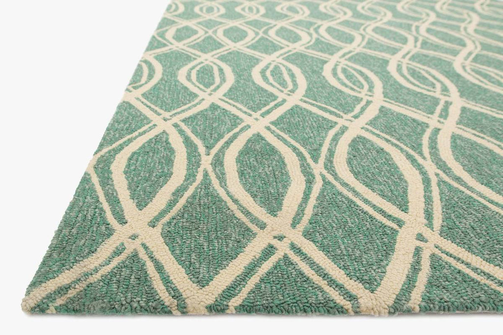 VENICE BEACH Collection Rug in TURQUOISE / IVORY