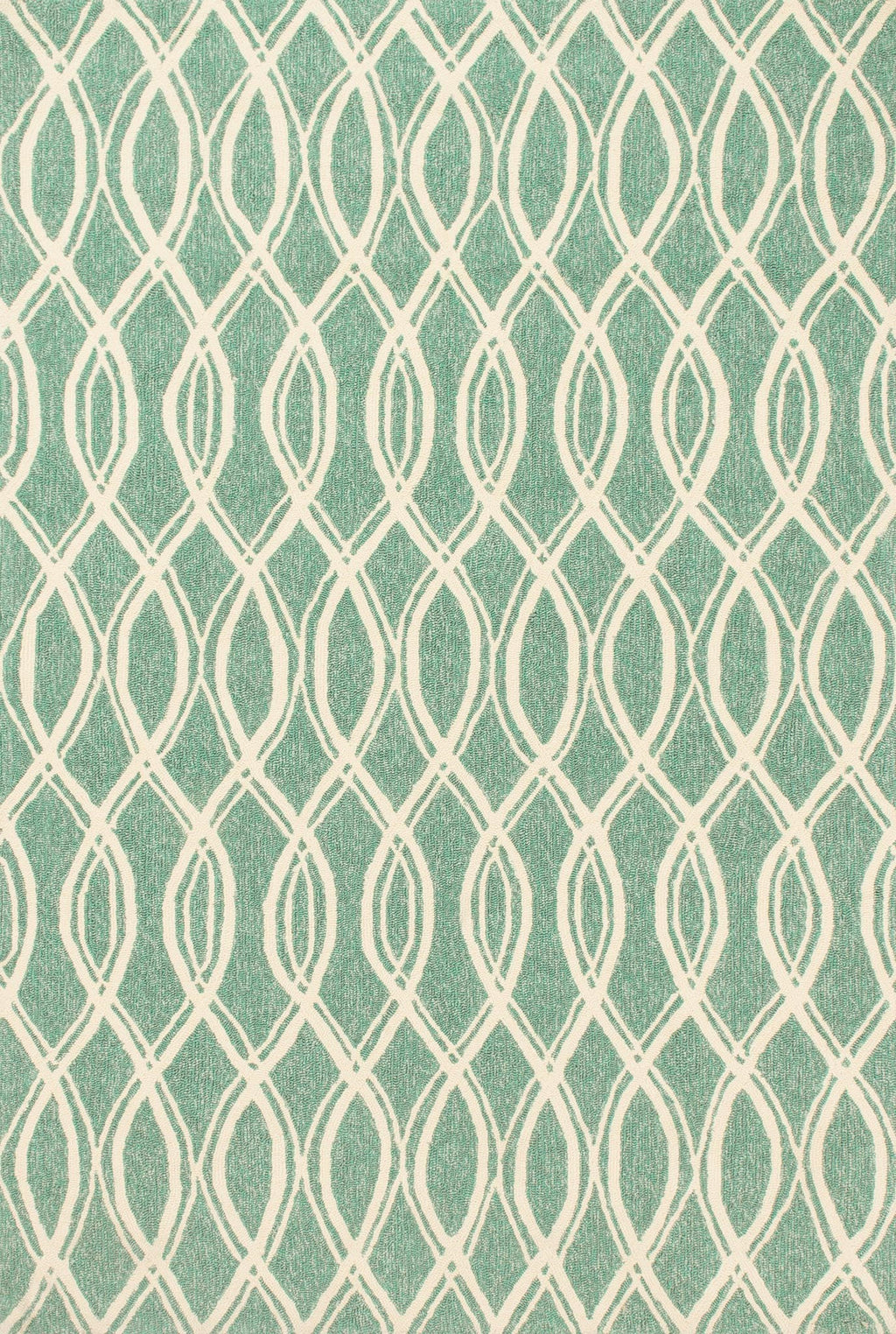 VENICE BEACH Collection Rug  in  TURQUOISE / IVORY Blue Small Hand-Hooked Polypropylene