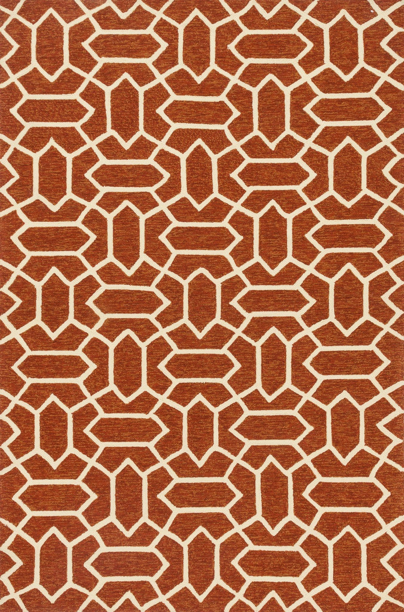 VENICE BEACH Collection Rug  in  RUST / IVORY Rust Small Hand-Hooked Polypropylene