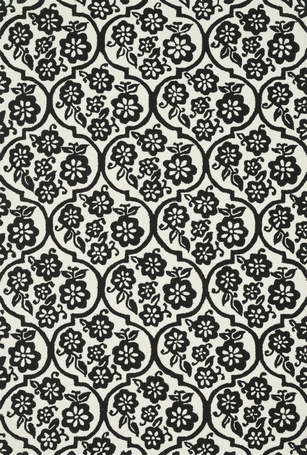 VENICE BEACH Collection Rug  in  IVORY / BLACK Ivory Medium Hand-Hooked Polypropylene