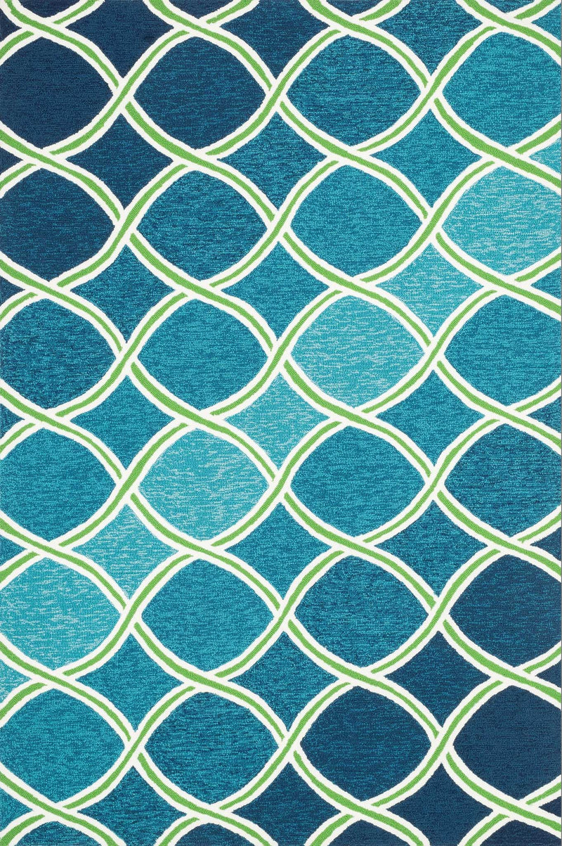 VENICE BEACH Collection Rug  in  BLUE / GREEN Blue Small Hand-Hooked Polypropylene