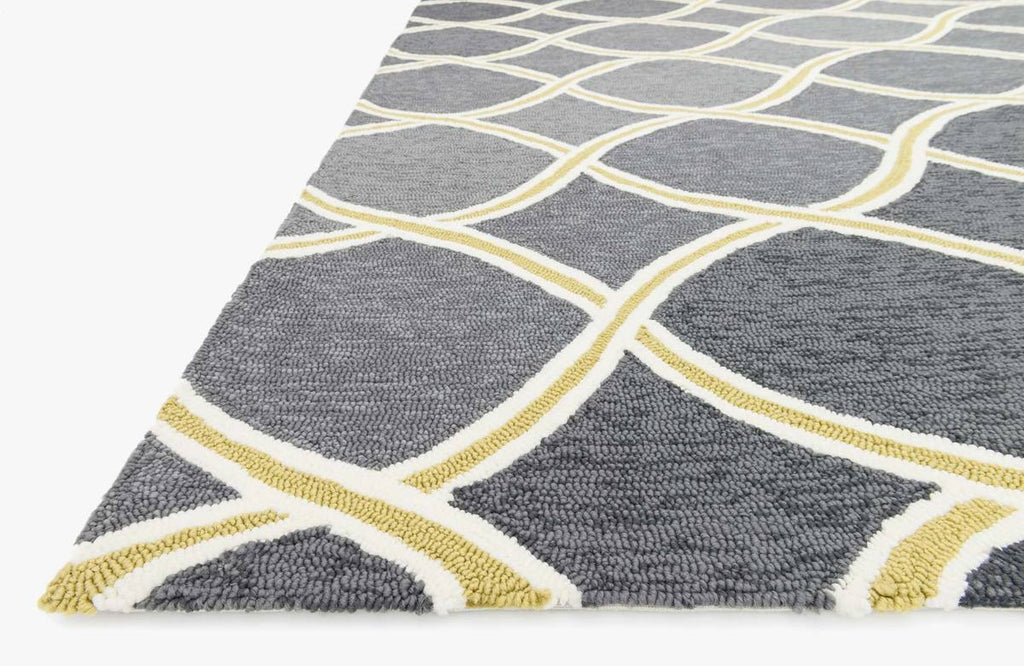 VENICE BEACH Collection Rug in CHARCOAL / LIME