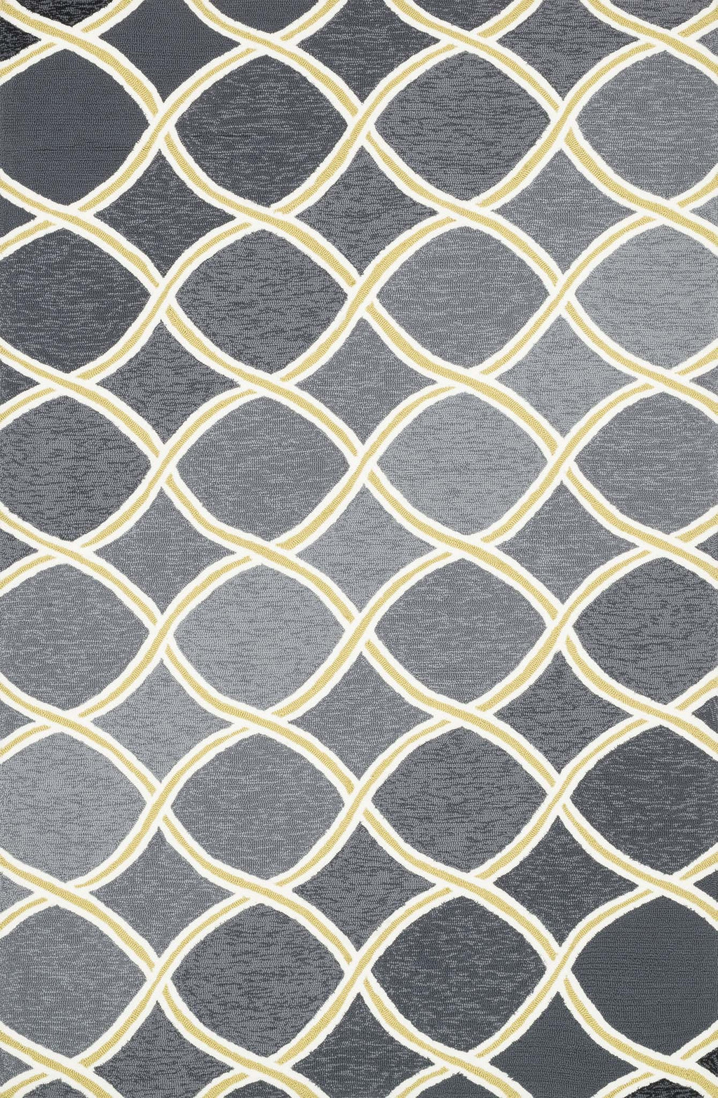 VENICE BEACH Collection Rug  in  CHARCOAL / LIME Gray Small Hand-Hooked Polypropylene