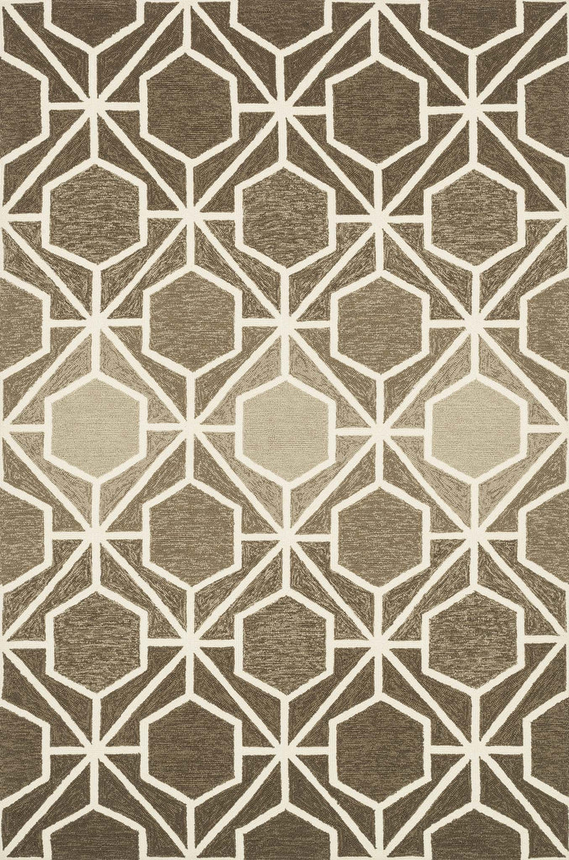 VENICE BEACH Collection Rug  in  BROWN / BEIGE Brown Small Hand-Hooked Polypropylene