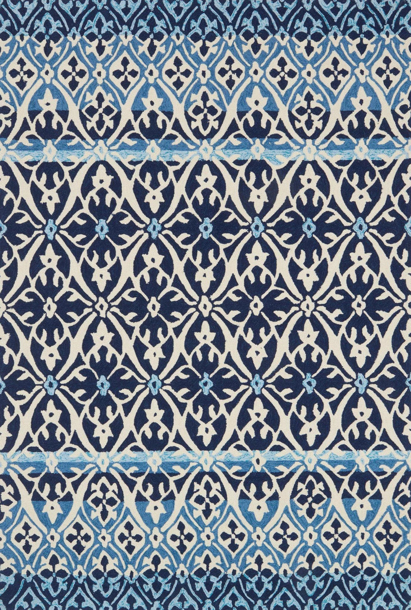 VENICE BEACH Collection Rug  in  BLUE / IVORY Blue Small Hand-Hooked Polypropylene
