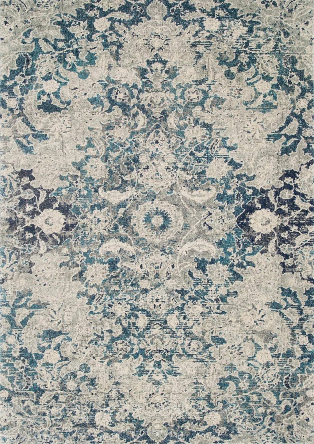 ZEHLA Collection Rug  in  OCEAN / SILVER Blue Runner Power-Loomed Polypropylene