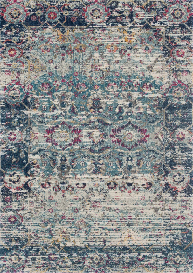 ZEHLA Collection Rug  in  TEAL / INDIGO Blue Runner Power-Loomed Polypropylene