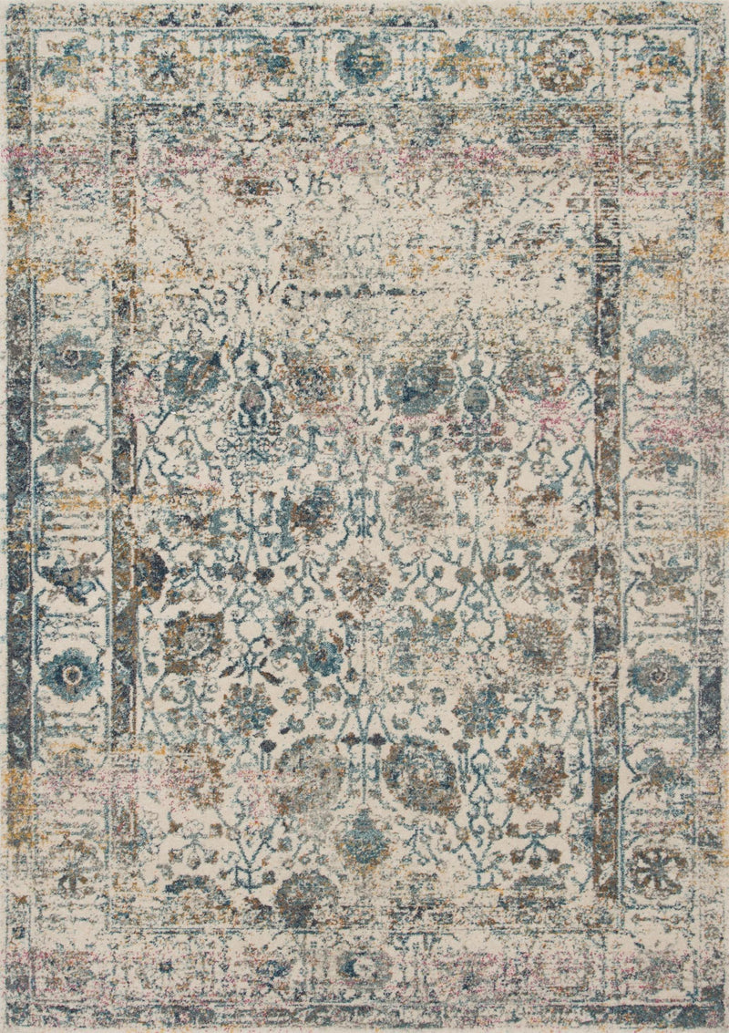 ZEHLA Collection Rug  in  IVORY / BLUE Ivory Runner Power-Loomed Polypropylene